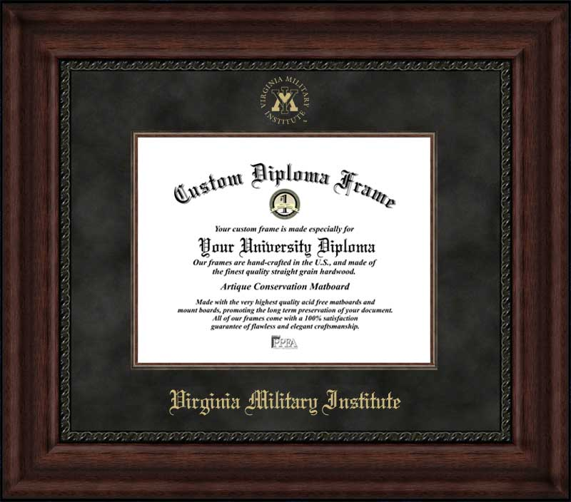 College - Virginia Military Institute Keydets - Embossed Seal - Suede Mat - Mahogany - Diploma Frame