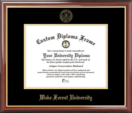 College - Wake Forest University Demon Deacons - Embossed Seal - Mahogany Gold Trim - Diploma Frame