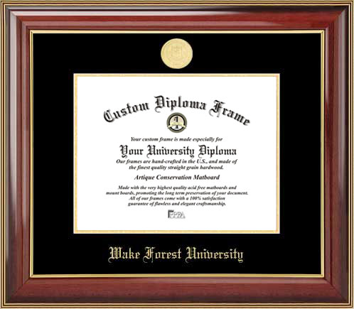 College - Wake Forest University Demon Deacons - Gold Medallion - Mahogany Gold Trim - Diploma Frame