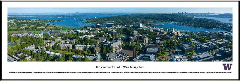 College - Washington Huskies - Campus Aerial with Husky Stadium - Framed Picture
