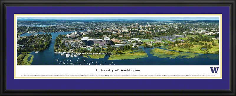 College - Washington Huskies - Campus Aerial with Husky Stadium II - Framed Picture