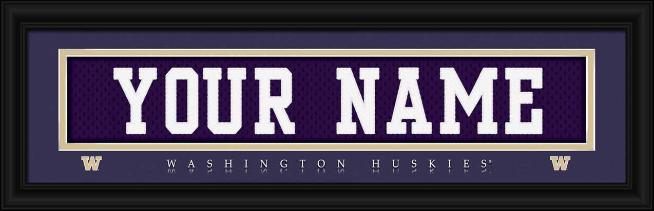 College - Washington Huskies - Personalized Jersey Nameplate - Framed Picture