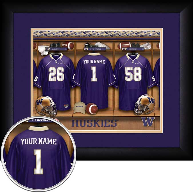 College - Washington Huskies - Personalized Locker Room - Framed Picture