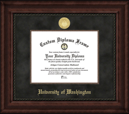 College - University of Washington Huskies - Gold Medallion - Suede Mat - Mahogany - Diploma Frame