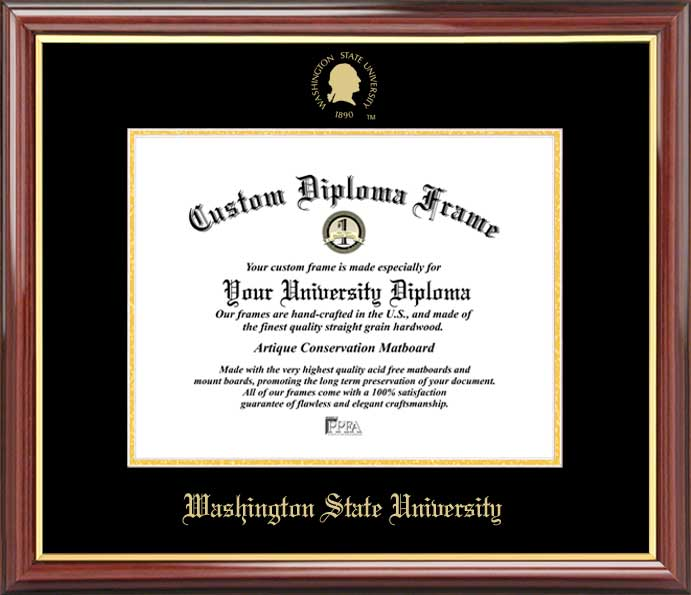 College - Washington State University Cougars - Embossed Seal - Mahogany Gold Trim - Diploma Frame