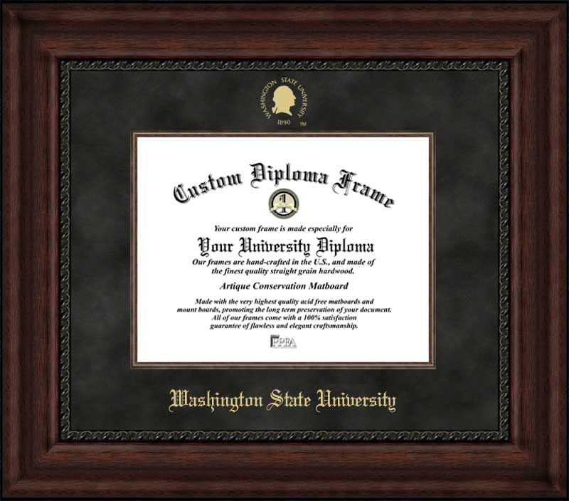 College - Washington State University Cougars - Embossed Seal - Suede Mat - Mahogany - Diploma Frame