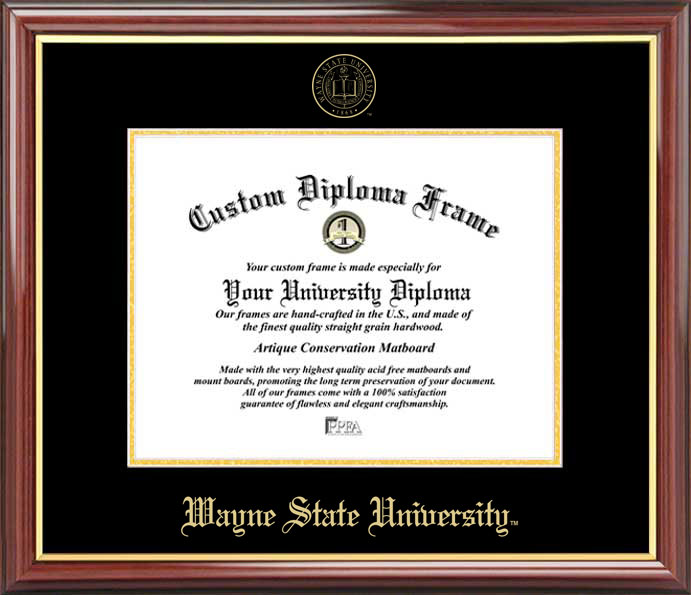 College - Wayne State University Warriors - Embossed Seal - Mahogany Gold Trim - Diploma Frame