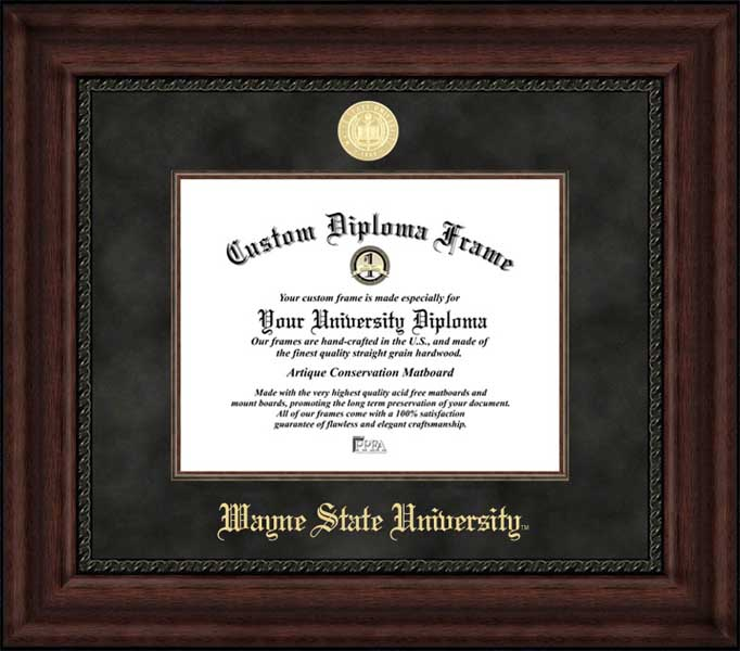 College - Wayne State University Warriors - Gold Medallion - Suede Mat - Mahogany - Diploma Frame