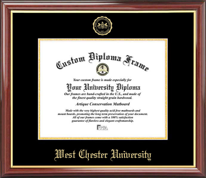 College - West Chester University of Pennsylvania Golden Rams - Embossed Seal - Mahogany Gold Trim - Diploma Frame