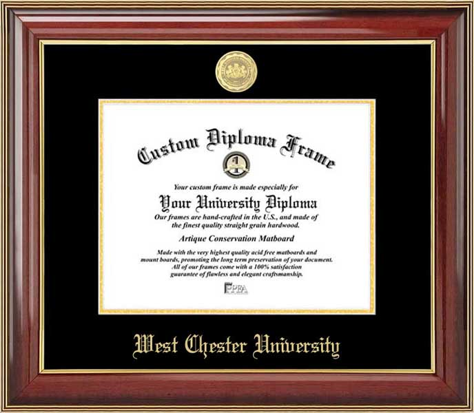 College - West Chester University of Pennsylvania Golden Rams - Gold Medallion - Mahogany Gold Trim - Diploma Frame