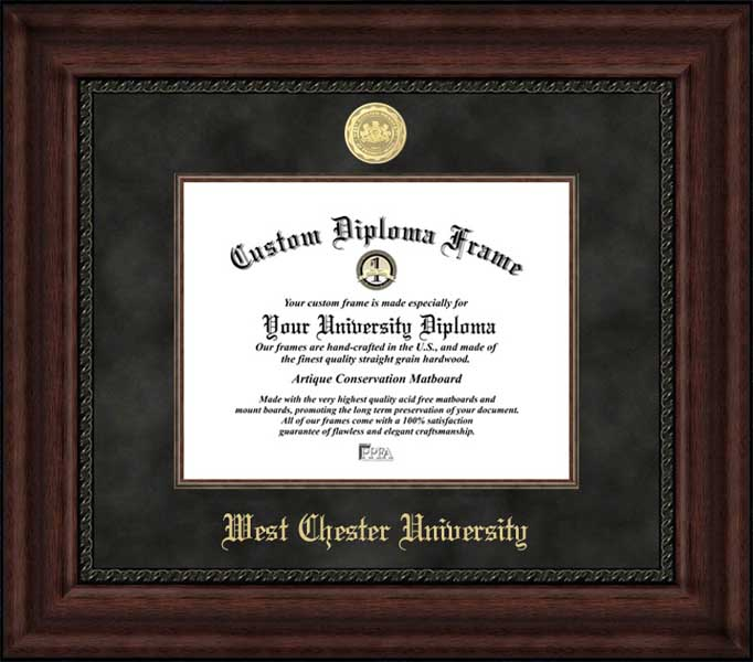 College - West Chester University of Pennsylvania Golden Rams - Gold Medallion - Suede Mat - Mahogany - Diploma Frame