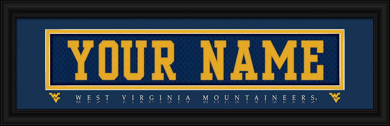 College - West Virginia Mountaineers - Personalized Jersey Nameplate - Framed Picture