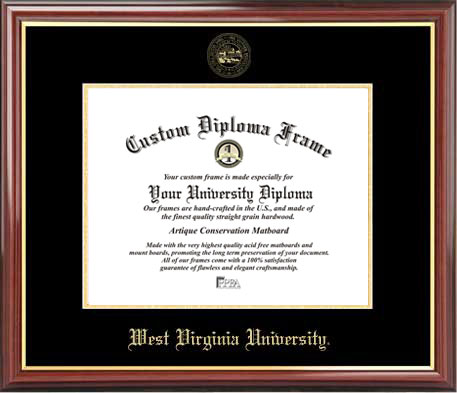 College - West Virginia University Mountaineers - Embossed Seal - Mahogany Gold Trim - Diploma Frame