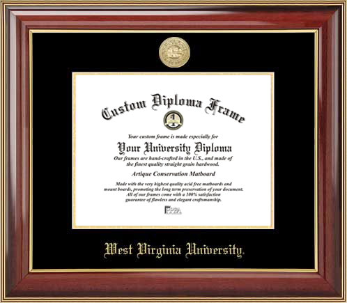 College - West Virginia University Mountaineers - Gold Medallion - Mahogany Gold Trim - Diploma Frame