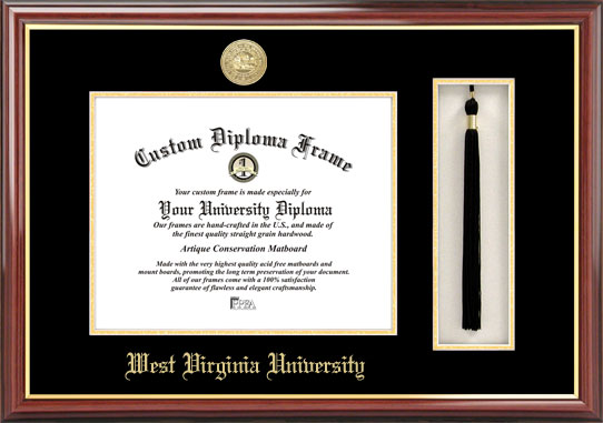 College - West Virginia University Mountaineers - Gold Medallion - Tassel Box - Mahogany - Diploma Frame