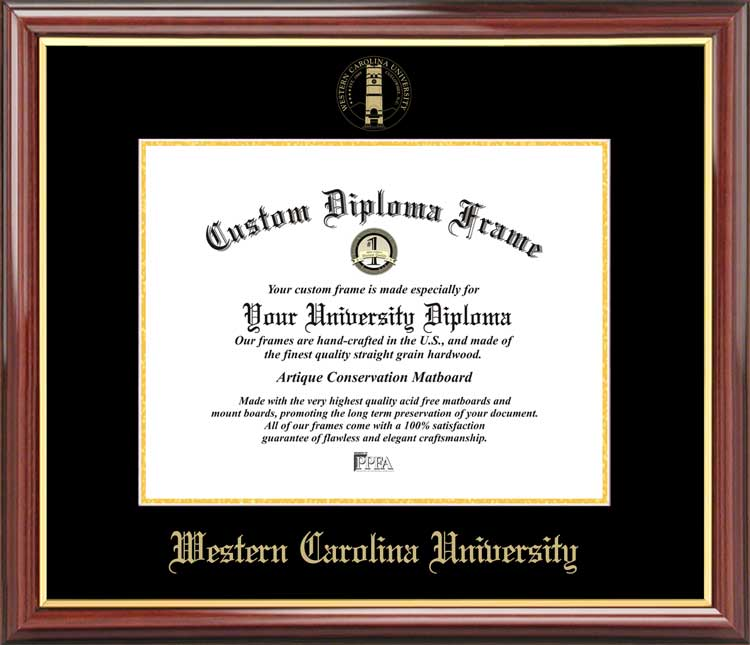 College - Western Carolina University Catamounts - Embossed Seal - Mahogany Gold Trim - Diploma Frame