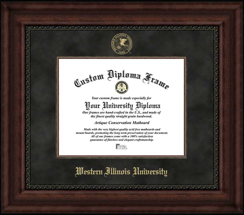 College - Western Illinois University Leathernecks - Embossed Seal - Suede Mat - Mahogany - Diploma Frame