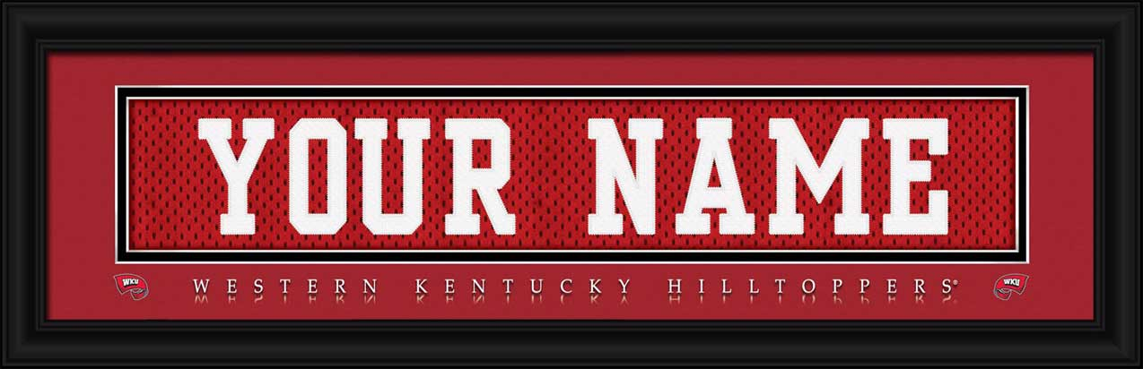 College - Western Kentucky Hilltoppers - Personalized Jersey Nameplate - Framed Picture