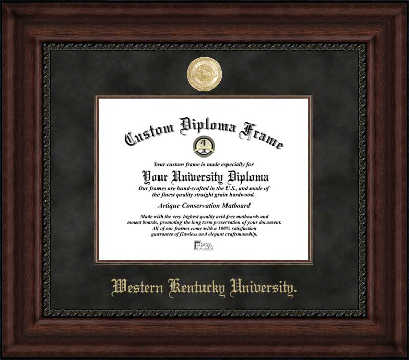 College - Western Kentucky University Hilltoppers - Gold Medallion - Suede Mat - Mahogany - Diploma Frame