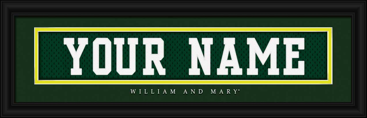 College - William & Mary Tribe - Personalized Jersey Nameplate - Framed Picture