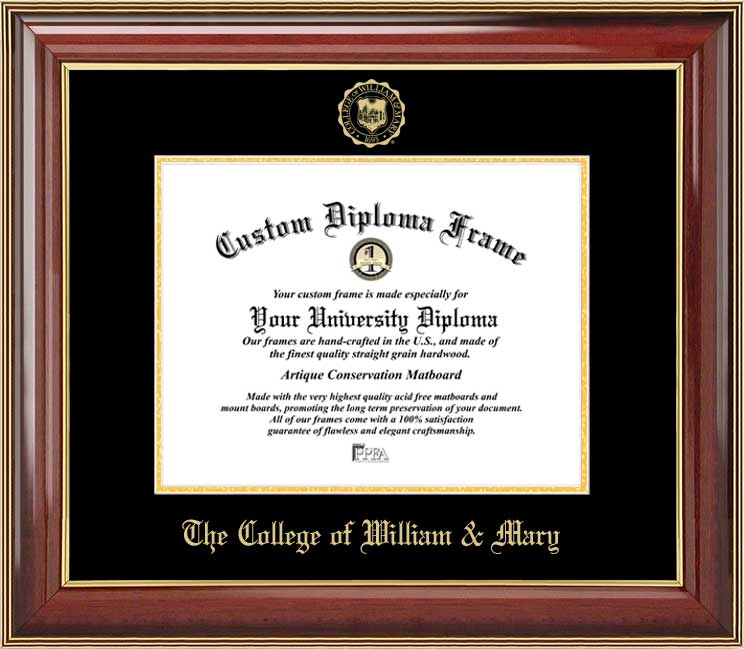 College - The College of William & Mary Tribe - Embossed Seal - Mahogany Gold Trim - Diploma Frame