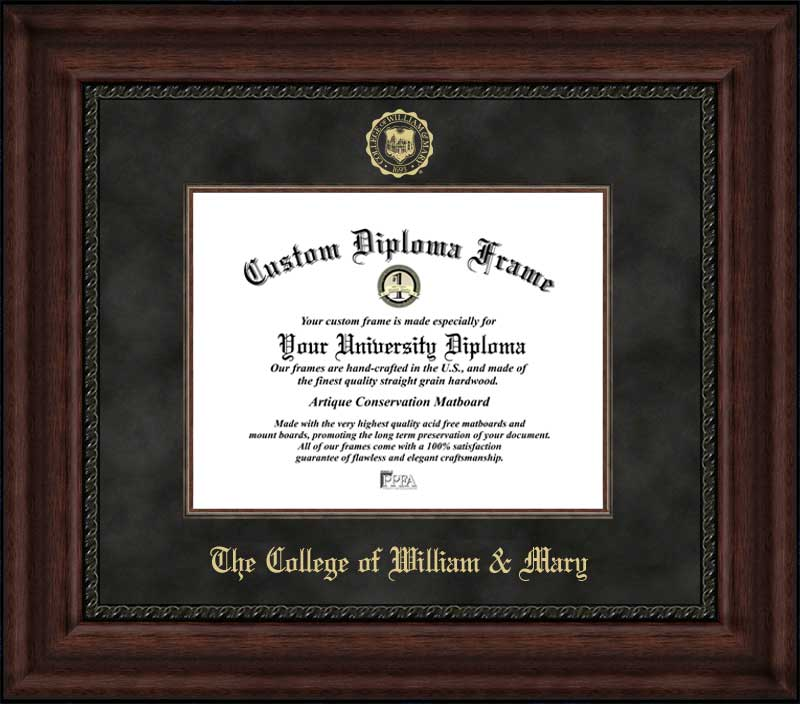 College - The College of William & Mary Tribe - Embossed Seal - Suede Mat - Mahogany - Diploma Frame