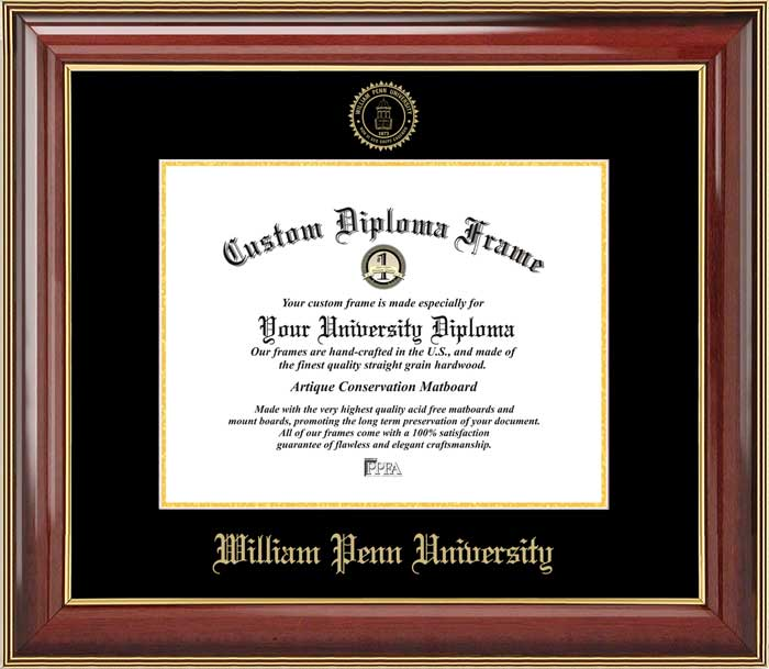 College - William Penn University Statesmen - Embossed Seal - Mahogany Gold Trim - Diploma Frame