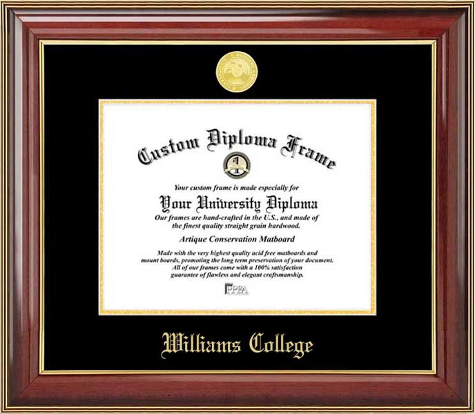 College - Williams College Ephs - Gold Medallion - Mahogany Gold Trim - Diploma Frame