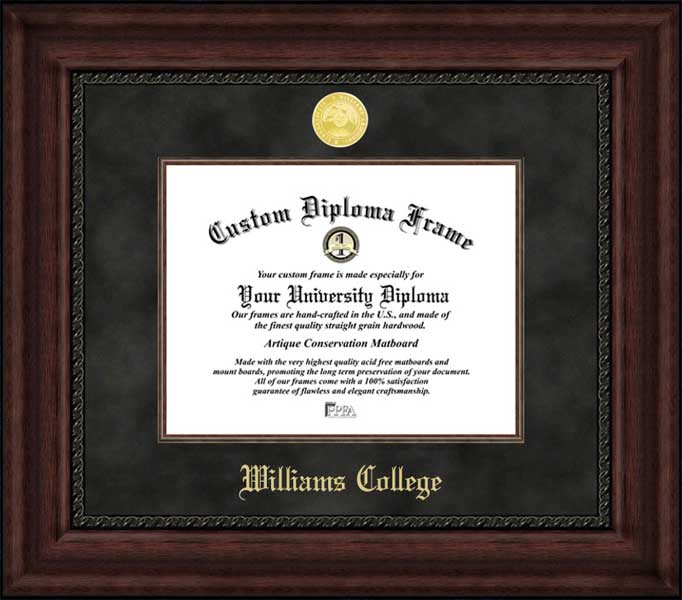 College - Williams College Ephs - Gold Medallion - Suede Mat - Mahogany - Diploma Frame