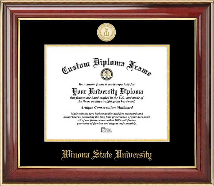 College - Winona State University Warrios - Gold Medallion - Mahogany Gold Trim - Diploma Frame