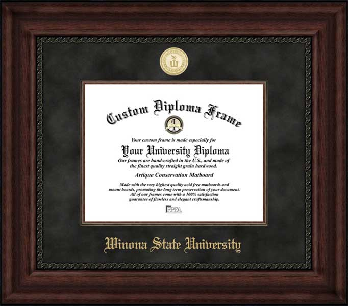 College - Winona State University Warrios - Gold Medallion - Suede Mat - Mahogany - Diploma Frame