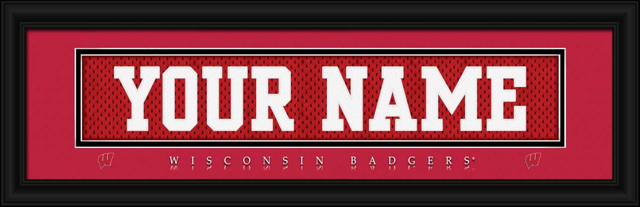 College - Wisconsin Badgers - Personalized Jersey Nameplate - Framed Picture