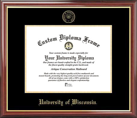 College - University of Wisconsin Badgers - Embossed Seal - Mahogany Gold Trim - Diploma Frame