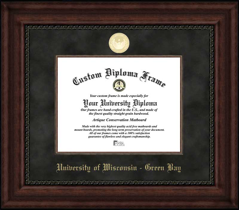 College - University of Wisconsin-Green Bay Phoenix - Gold Medallion - Suede Mat - Mahogany - Diploma Frame