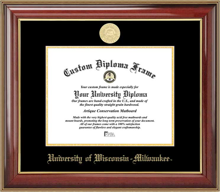 College - University of Wisconsin-Milwaukee Panthers - Gold Medallion - Mahogany Gold Trim - Diploma Frame