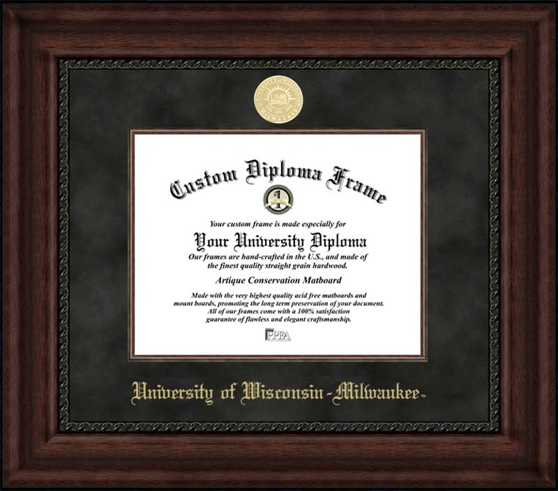 College - University of Wisconsin-Milwaukee Panthers - Gold Medallion - Suede Mat - Mahogany - Diploma Frame