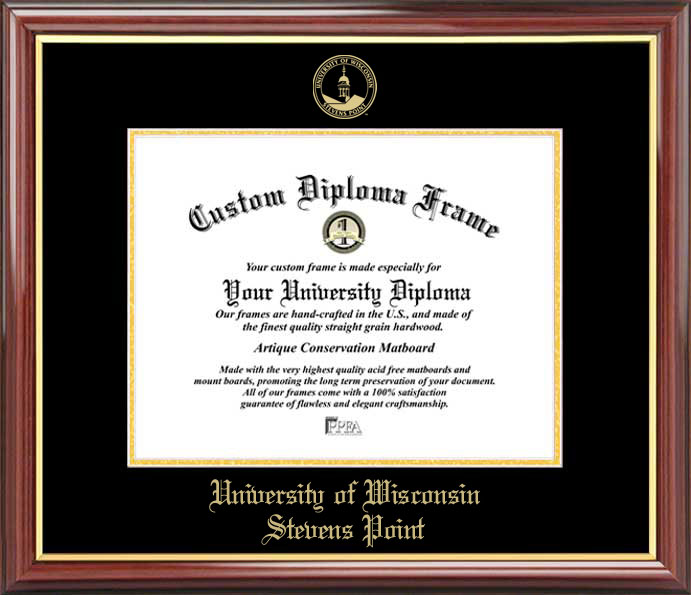 College - University of Wisconsin-Stevens Point Pointers - Embossed Seal - Mahogany Gold Trim - Diploma Frame