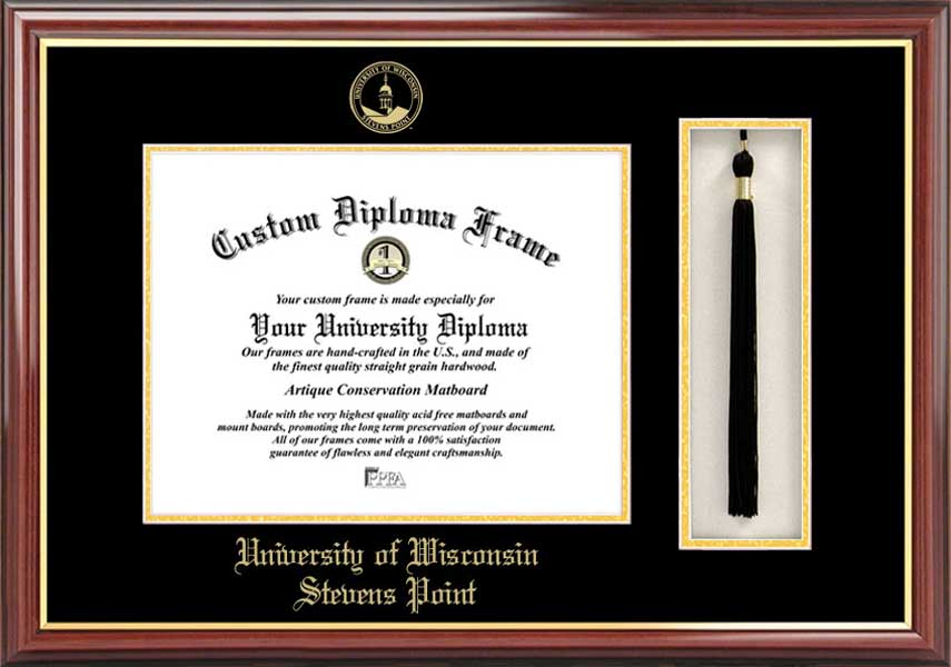 College - University of Wisconsin-Stevens Point Pointers - Embossed Seal - Tassel Box - Mahogany - Diploma Frame