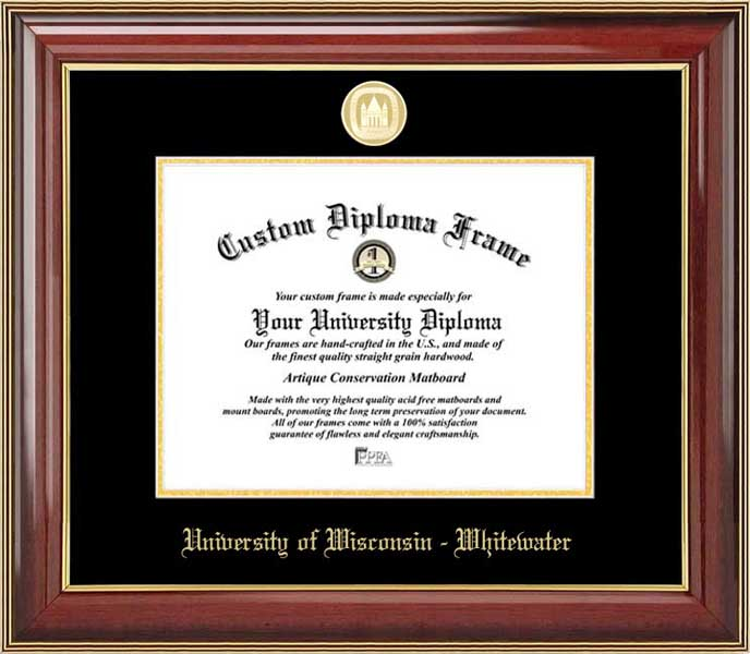 College - University of Wisconsin-Whitewater Warhawks - Gold Medallion - Mahogany Gold Trim - Diploma Frame