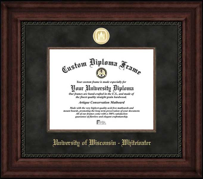 College - University of Wisconsin-Whitewater Warhawks - Gold Medallion - Suede Mat - Mahogany - Diploma Frame