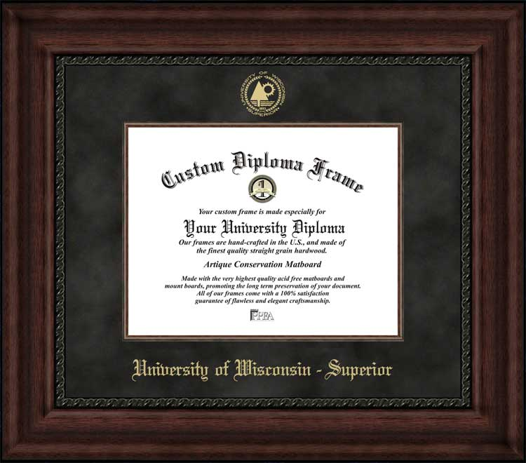 College - University of Wisconsin - Superior Yellowjackets - Embossed Seal - Suede Mat - Mahogany - Diploma Frame