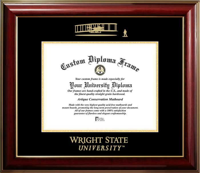 College - Wright State University Raiders - Embossed Seal - Mahogany Gold Trim - Diploma Frame