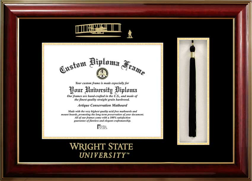 College - Wright State University Raiders - Embossed Seal - Tassel Box - Mahogany - Diploma Frame