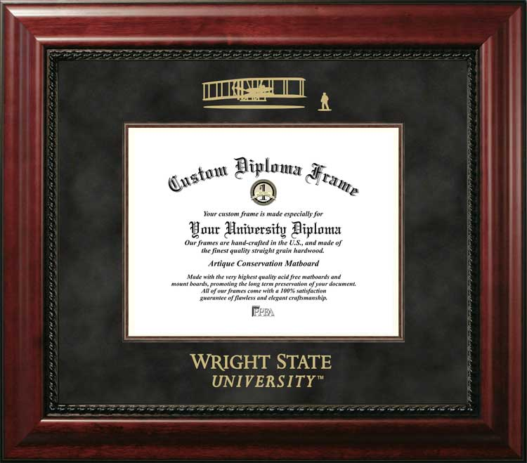 College - Wright State University Raiders - Embossed Seal - Suede Mat - Mahogany - Diploma Frame