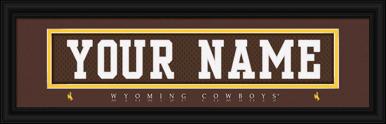 College - Wyoming Cowboys - Personalized Jersey Nameplate - Framed Picture