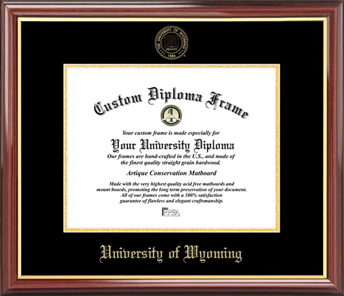 College - University of Wyoming Cowboys - Embossed Seal - Mahogany Gold Trim - Diploma Frame