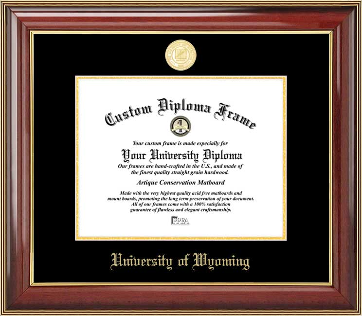 College - University of Wyoming Cowboys - Gold Medallion - Mahogany Gold Trim - Diploma Frame