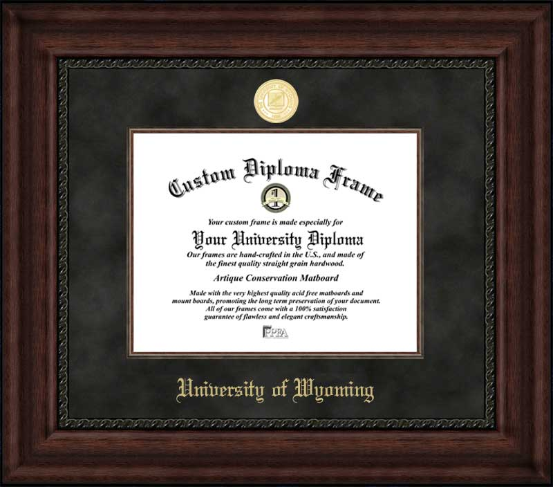 College - University of Wyoming Cowboys - Gold Medallion - Suede Mat - Mahogany - Diploma Frame