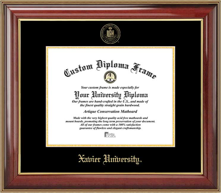 College - Xavier University Musketeers - Embossed Seal - Mahogany Gold Trim - Diploma Frame