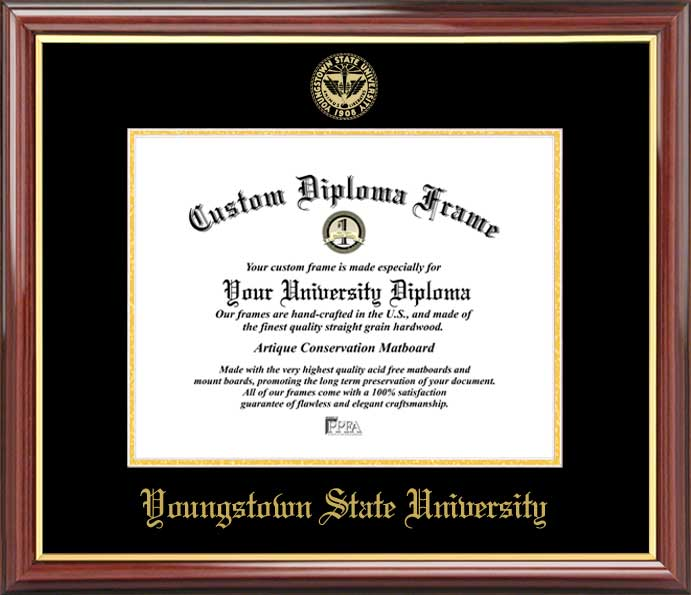 College - Youngstown State University Penguins - Embossed Seal - Mahogany Gold Trim - Diploma Frame